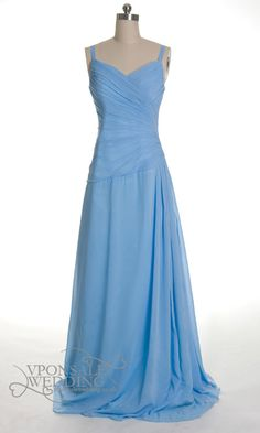 long blue Ruched bridesmaid dress with straps DVW0163 | VPonsale Wedding Custom Dresses £95
