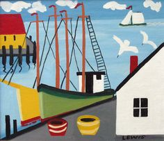 Maud Lewis, Primitive artist from Nova Scotia, Canada Canadian Painters, Canadian Artists, Maudie Lewis, Naive Art, Christian Art, Nova Scotia, Art Lessons, Bunt, Folk Art