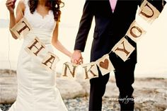 Oh! This would be great to plan ahead for thank you cards. Have the wedding photographer shoot the photo at the wedding...