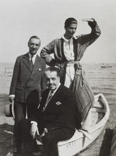 Walter Nouvel, Serge Diaghilev and Serge Lifar in Venice (1927)