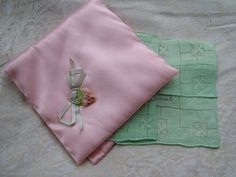 HANKIE Holder, 1920's Pink Satin Silk Ribbon Embroidery Gift