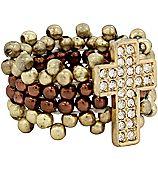 Goldtone Beaded Crystal Cross Stretch Ring #AR0363-GTT