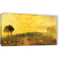 William Turner Sunset, Fighting Bucks Gallery-Wrapped Canvas Art, Size: 12 x 24, Green