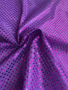 """44/45"""" Purple Dot Sequin Fabric By The Yard Sequin Fabric, Fabric Decor, Dots, Sequins, Yard, Purple, Stitches, Patio, Courtyards"""
