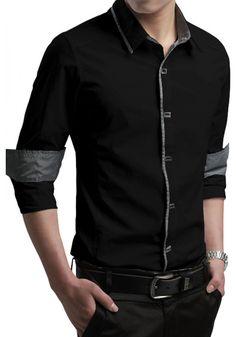 Laila Classy Trim Long-sleeve Mens Shirt