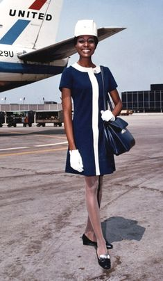 """Skimmer"" uniform for the female flight attendants of United Airlines, designed by Jean Louis, 1968."