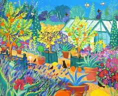 Oranges and Lemons Barleywood. The garden of Alan Titchmarsh MBE. Painted by artist John Dyer.