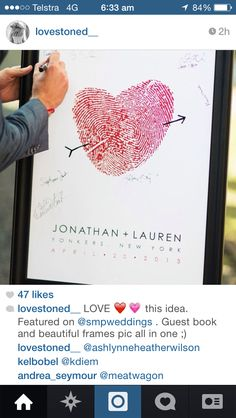 Custom guest book poster made of bride & groom's thumbprints. A very unique guest book substitute. Young Wedding, Red Wedding, Perfect Wedding, Wedding Day, Wedding Book, Fingerprint Wedding, Wedding Posters, Wedding Guest Book Alternatives, Marry Me