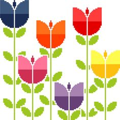 Field of retro tulips. Modern cross stitch by crossstitchtheline Embroidery Sampler, Vintage Embroidery, Cross Stitch Embroidery, Modern Cross Stitch Patterns, Cross Stitch Designs, Motif Fair Isle, Lazy Daisy Stitch, Contemporary Embroidery, Retro Flowers