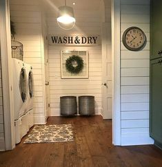 Browse farmhouse laundry room ideas and decor inspiration. Discover designs for custom country laundry rooms and closets. farmhouse laundry room ideas and decor inspiration. Discover designs for . Laundry Room Remodel, Laundry In Bathroom, Small Laundry, Laundry Decor, Washroom, Basement Bathroom, Laundry Room Doors, Wood Floor In Bathroom, Basement Laundry Rooms
