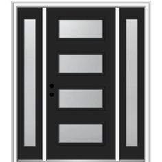 MMI Door Majestic Steel Front Door unit comes with our MSystem on both the Door Component and the Base Prehung System, as well as a warranty on the Glass Lite. All of our Majestic Steel Modern Exterior Doors, Exterior Front Doors, Entry Doors, Exterior Design, Entryway, Glass Front Door, Front Door Decor, Sliding Glass Door, Black Front Doors