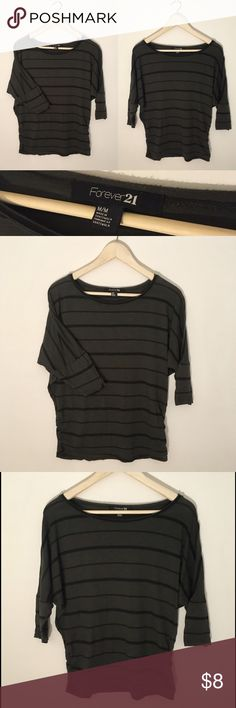 3/4 Sleeve Gray/Green & Black Striped Top Size M Perfect for fall! This 3/4 sleeve striped top is in excellent condition. It is a light cotton material. Color is dark gray-green. Originally from Forever21. Women's size M. Forever 21 Tops Tees - Long Sleeve