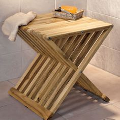 Folding Bath Stool, Teak Wood | Solutions