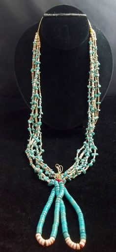Southwest Red Lip Shell and Turquoise Shell Heishi Necklace with Joclas *Z87