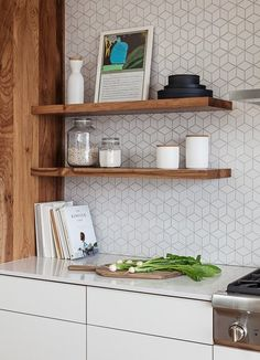 Kitchen Backsplash Wood Cabinets Floating Shelves 53 Ideas For 2019 Best Kitchen Designs, Modern Kitchen Design, Kitchen Interior, Kitchen Decor, Laminate Cabinets, Kitchen Wall Tiles, Scandinavian Kitchen Backsplash, Scandinavian Tile, Cuisines Design
