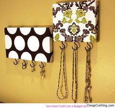 Wine Bottle Crafts with Lights | Take A Piece Of Wood Cover With Fabric Add Hooks Use For Jewelry Or ...