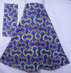 African Wax Fabric Skirt Maxi Wrap Skirt Ankara Wax Party Long Skirt Traditional Abstract Print Women Flared Skirt Blue Mustard Maize P 25 by dashikicaftan11 on Etsy