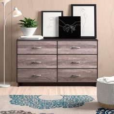 Zipcode Design™ Dendron 8 Drawer Double Dresser & Reviews | Wayfair 8 Drawer Dresser, Dresser With Mirror, Drawers, Double Dresser, Contemporary Style, Storage Spaces, Wood, Furniture, Design