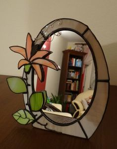 rose mirror mackintosh style stained glass art