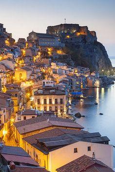 Town view at dusk, Castello Ruffo, Scilla, Calabria, Italy
