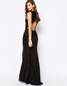 Jarlo Fishtail Maxi Evening Dress with Open Back & Detail Black UK 10/EU 38/US 6