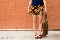 So cute! - Sew Women's Shorts with this FREE pattern and tutorial - Graphic Print Shorts by Melly Sews