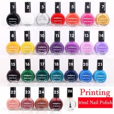 26 color #nail #polish oil Stamping 10ml nail stamping polish printing stamp dedicated authentic Sticker Nail art Printing AS77