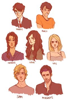 batcii:  A long overdue commission for mooeybambooey. As I take it these are all from YA fantasy novels. So Harry Potter, Percy Jackson, Katniss Everdeen, Lena from Beautiful Creatures, Tris from Divergent, Sam (I'm not sure what he's from?), and Magnus from the Shadowhunter Chronicles. I've only read Harry Potter and The Hunger Games, so hopefully I represented them all alright! :)