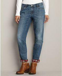 Boyfriend Flannel-Lined Jeans | Eddie Bauer