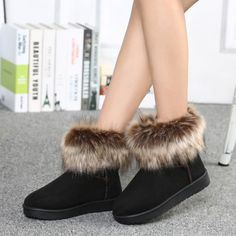 Sale 10% (23.53$) - Women Winter Keep Warm Boots Artificial Fur Boots Flat Ankle Snow Boots