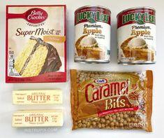 The Best Caramel Apple Cobbler Dump Cake (Just 4 Ingredients!) Caramel Apple Dump Cake, Apple Dump Cakes, Dump Cake Recipes, Dessert Cake Recipes, Caramel Apples, Caramel Bits, Apple Cake, Desserts Menu, Apple Desserts