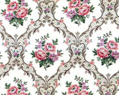 House Wallpaper or scale Floral Quality Paper Pink Miniature Dolls House Wallpaper or scale Floral Quality Paper Pink Miniature Dolls House Wallpaper or scale Floral Quality Paper Pink Miniature Antique Fabric French Textile Printed Linen Love Birds Rose Doll House Wallpaper, Home Wallpaper, Wallpaper Paste, Pattern Wallpaper, Geometric Wallpaper, Textile Prints, Textiles, Victorian Wallpaper, Decoupage Vintage