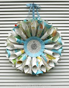 World Map Atlas Compass Geography Travel Vacation Road Trip Vintage Book Wreath-- Use for tall centerpiece on food table and hang from wreath stand Map Crafts, Crafts To Do, Book Crafts, Wreath Crafts, Diy Wreath, Road Trip Theme, Book Wreath, Map Globe, Vintage Maps