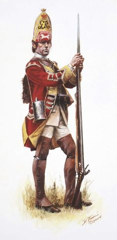 British Grenadier of the 44th Regiment of Foot as he would have appeared during the disastrous Braddock Campaign in 1755, by Don Troiani.