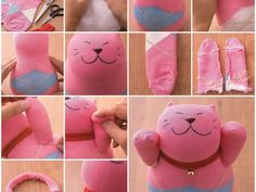 How to make a Lucky Cat sock doll [and others] with DIY tutorial instructions {in Italian} Diy Cat Toys, Diy Jouet Pour Chat, How To Make Socks, Sewing Projects, Diy Projects, Project Ideas, Sock Crafts, Sock Dolls, Sock Animals