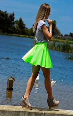 slouchy tee and twirly neon skirt ♥