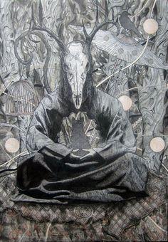 ink drawing, skull, Buddhism, Shaman, trees.