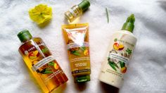 #yvesrocher body care set with mango and coriander shower gel exfoliateing gel body milk perfume