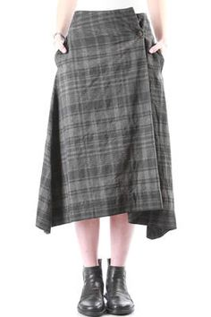 FORME D' EXPRESSION - Longuette Skirt In Two-Colour Linen And Cotton, Over-Dyed With Chequered Print