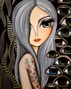 Girly Drawings, Art Drawings, Abstract Face Art, Frida Art, My Art Studio, Arte Pop, Whimsical Art, Art Plastique, Portrait Art