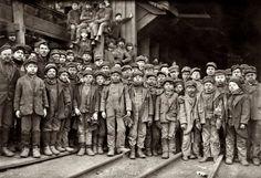 """January 1911. South Pittston, Pa. """"Breaker boys working in Ewen Breaker of Pennsylvania Coal Co."""""""