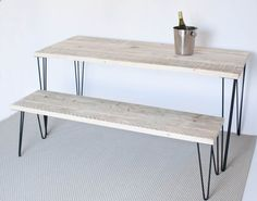 Mallory Dining Table | Dining Table and Bench | Kitchen Table | Reclaimed Wood | Hairpin Legs Dining Table | Scandinavian | Natural Wood