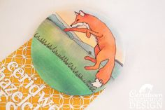 Leaping Fox Fabric Badge Large Badge Pin Badge by ceridwenDESIGN