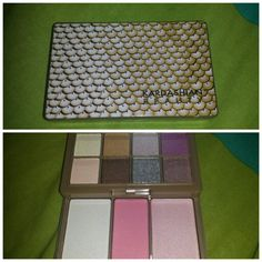 Kardashian Beauty Kourtney's Kardazzle Complete Face Palette. Eye shadows on top row, below are two cheek highlighters and a blush. It is super small and compact, perfect for travel or carrying around in your purse. About $6.49 @ultabeauty!