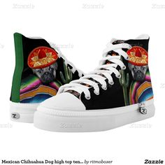 Mexican Pug Dog high top tennis shoes Printed Shoes Unisex sizing: 4-13 Men's   6-15 Women's  #mexican #dog #hightop #tennis #shoe #shoes #fashion #mexico #pug #pugs