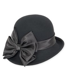 Look what I found on #zulily! Black Turned-Up Brim & Bow-Trim Wool-Blend Cloche by ADORA #zulilyfinds