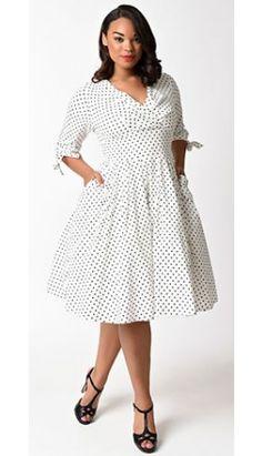Unique Vintage Plus Size 1950s White & Black Polka Dot Diana Swing Dress