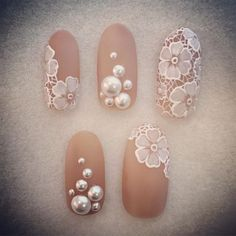 Cute Nail Designs For Spring – Your Beautiful Nails Diy Wedding Nails, Wedding Nails Design, Bridal Nails Designs, White Lace Nails, Lace Nail Art, Bride Nails, Prom Nails, Lace Nail Design, Nail Art Designs