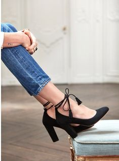 Black ankle heels #shoes