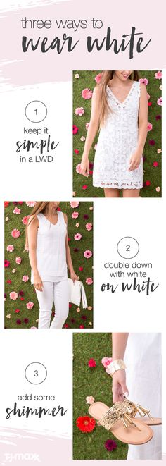 For outdoor parties or office meetings, all white outfits are a must for summer fashion. Keep the look bright and airy with lightweight fabrics like lace and linen. Don't be afraid to make a statement in head-to-toe white, and finish the look with metallic accessories and delicate jewelry.